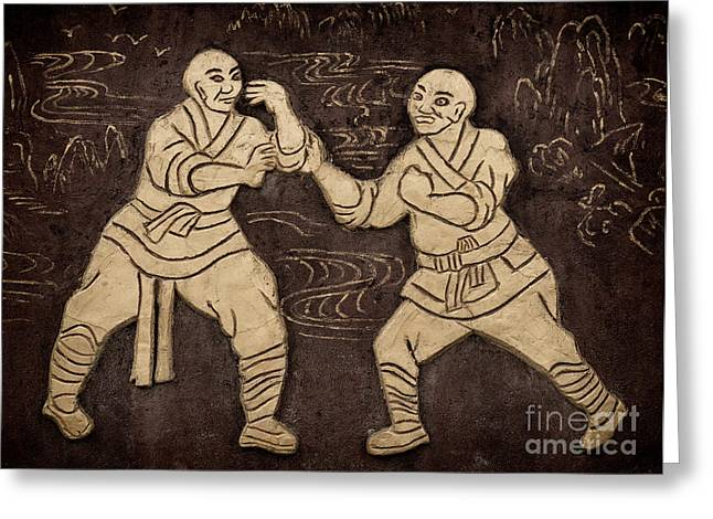 Kung Fu Greeting Cards - Shaolin monks artwork on a wall Greeting Card by Oleksiy Maksymenko