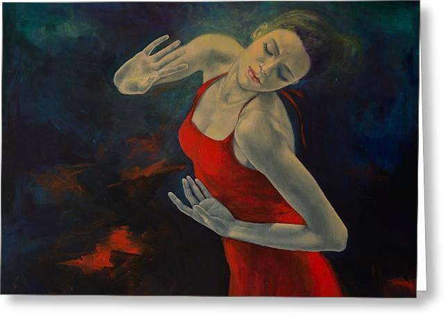 Red Dress Paintings Greeting Cards - Shape Of My Heart... Greeting Card by Dorina  Costras