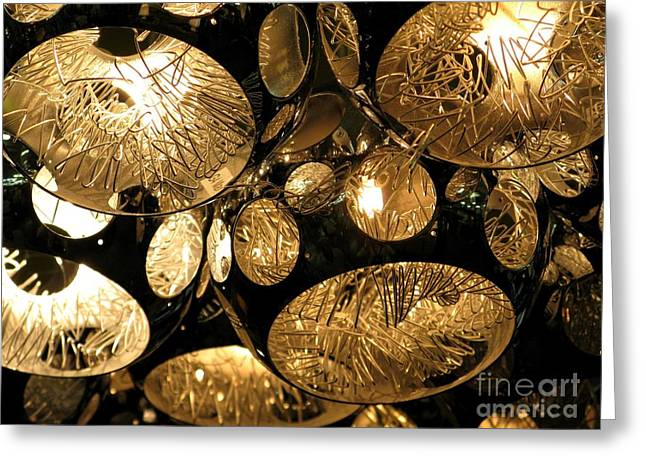 Sepia Chandeliers Greeting Cards - Shapes Of Light Greeting Card by Ausra Paulauskaite