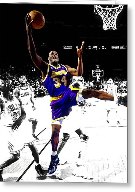 Shaq Greeting Cards - Shaquille O Neal Greeting Card by Brian Reaves