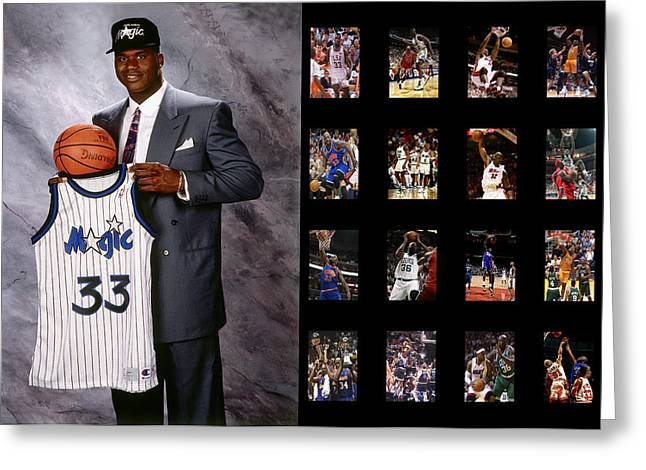 Basket Ball Greeting Cards - Shaquille Oneal Greeting Card by Joe Hamilton