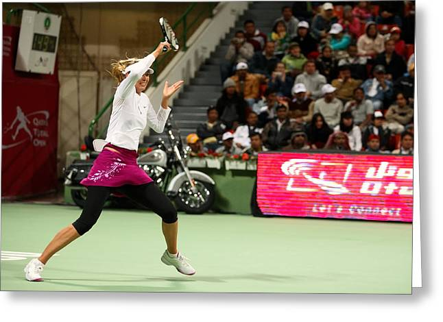 Centre Court Greeting Cards - Sharapova at Qatar Open Greeting Card by Paul Cowan