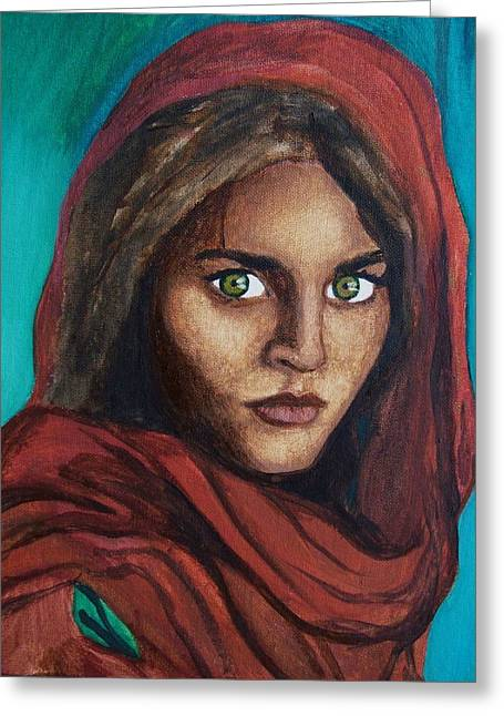 Sharbat Gula Greeting Card by Amber Stanford