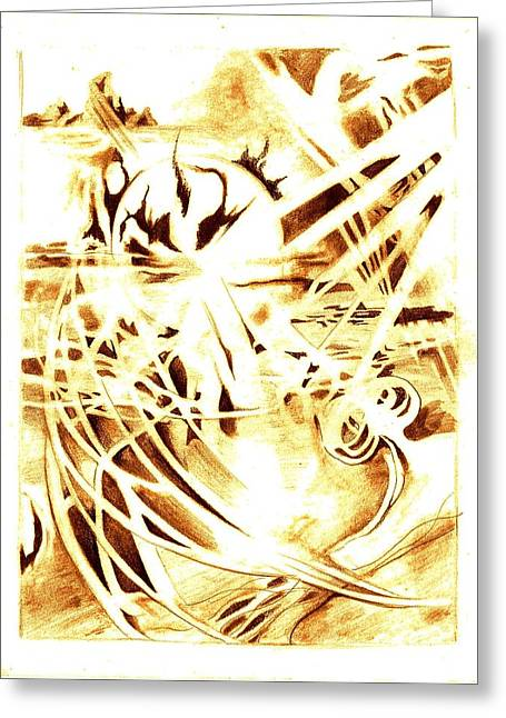 Sunset Abstract Drawings Greeting Cards - Shards of a Sunset Greeting Card by Jamie Jonas