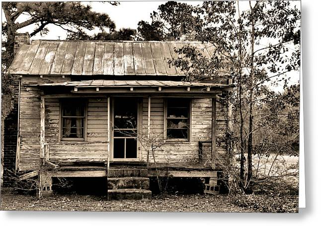 Sharecropper Greeting Cards - Sharecroppers Cabin Greeting Card by Reginald Valliere