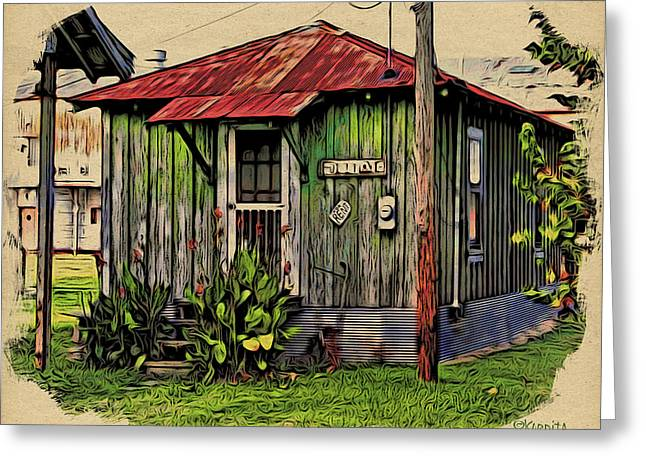 Sharecropper Greeting Cards - Sharecroppers Shack MS Delta Greeting Card by Rebecca Korpita