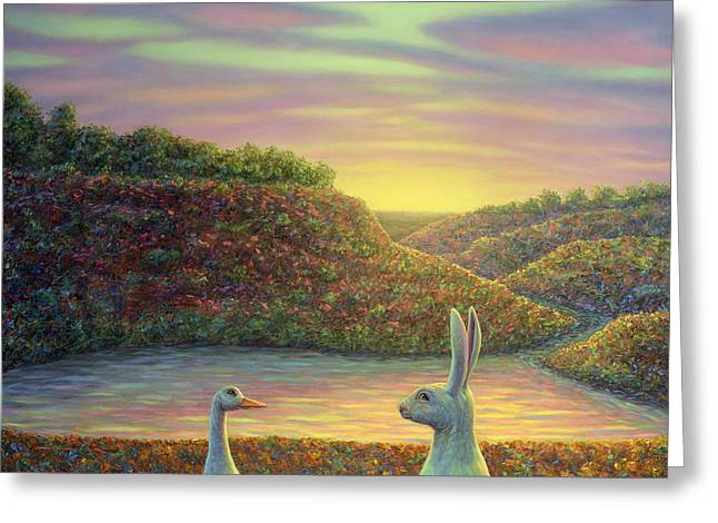 Duck Pond Greeting Cards - Sharing a Moment Greeting Card by James W Johnson