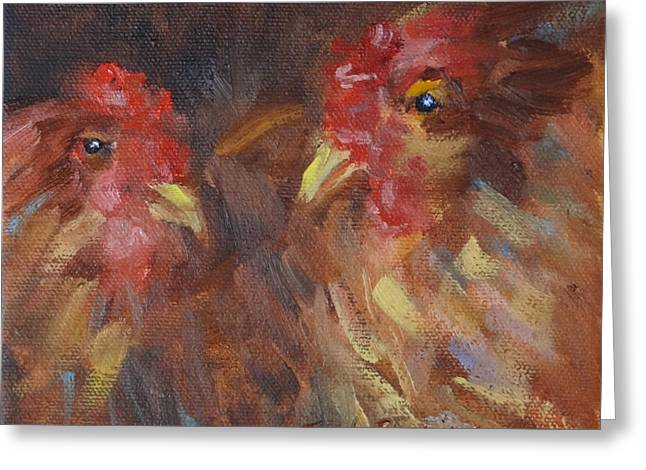 Chicken Laying Eggs Greeting Cards - Sharing a Square Box Greeting Card by Carol Berning