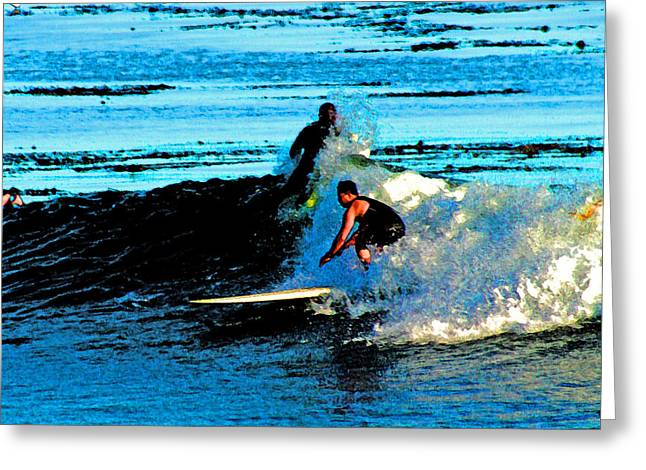Surfing Photos Digital Art Greeting Cards - Sharing a Wave Greeting Card by Joseph Coulombe