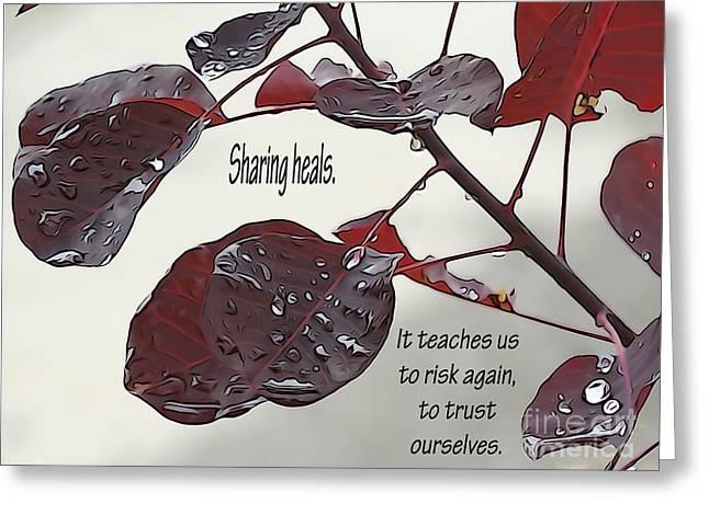 Healing Trauma Greeting Cards - Sharing Heals Greeting Card by L Jaye  Bell