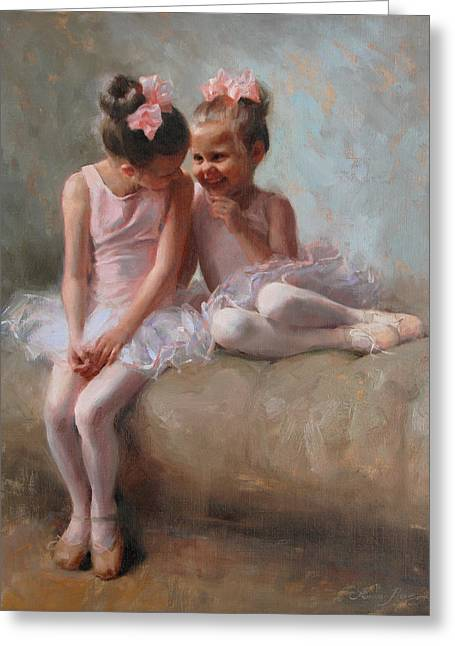 Ballet Dancers Paintings Greeting Cards - Sharing Secrets Greeting Card by Anna Bain