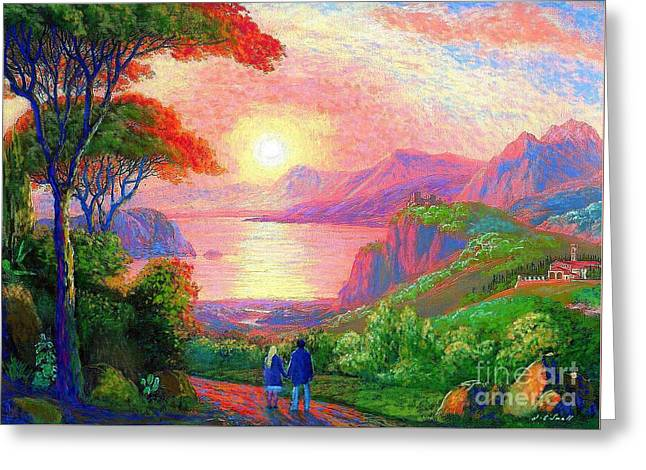 Italian Sunset Greeting Cards - Sharing the Journey Greeting Card by Jane Small