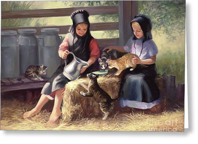 Amish Greeting Cards - Sharing with a Friend Greeting Card by Laurie Hein