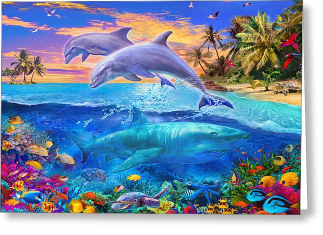 Stones Greeting Cards - Shark and Dolphin Paradise Greeting Card by Jan Patrik Krasny