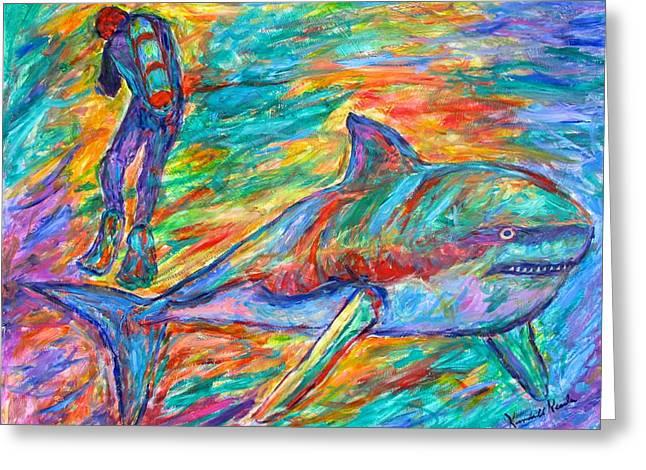 White Shark Paintings Greeting Cards - Shark Beauty Greeting Card by Kendall Kessler