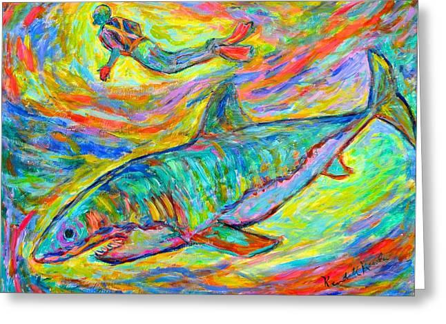White Shark Paintings Greeting Cards - Shark Energy Greeting Card by Kendall Kessler