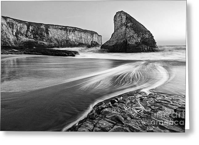 Monolith Greeting Cards - Shark Fin Cove at dusk. Greeting Card by Jamie Pham