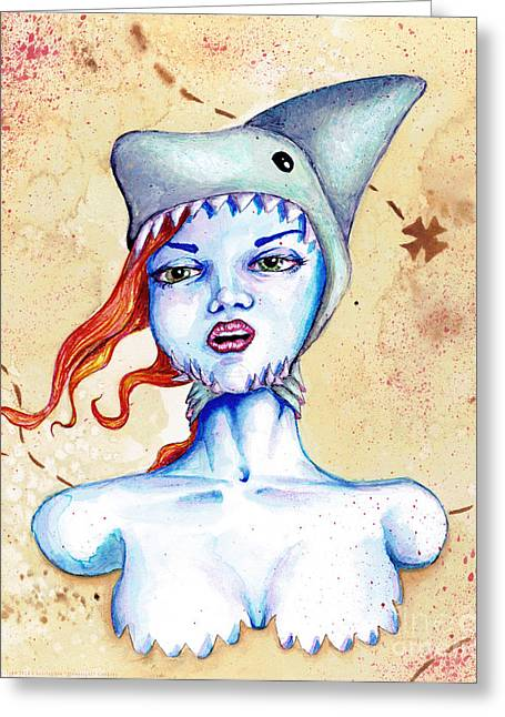 Subconscious Greeting Cards - Shark Hat Greeting Card by Christopher Moonlight