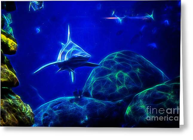 The Tiger Greeting Cards - Shark Hunting Abstract Greeting Card by Tom Gari Gallery-Three-Photography