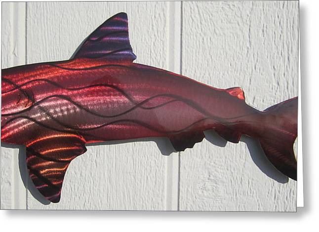 Sharks Sculptures Greeting Cards - Shark Red fire metal wall sculpure Greeting Card by Robert Blackwell