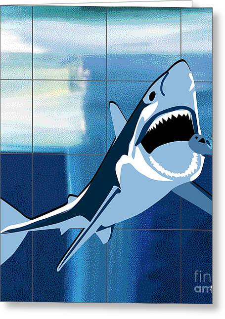 Dressing Room Digital Art Greeting Cards - Shark Greeting Card by Roby Marelly