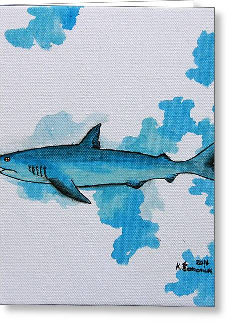 Mix Medium Mixed Media Greeting Cards - Shark Study Greeting Card by Kayleigh Semeniuk