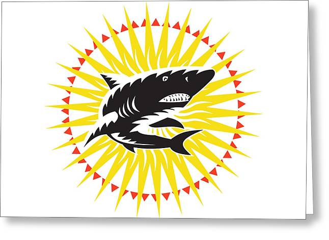 Shark Swimming Up Sunburst Woodcut Greeting Card by Aloysius Patrimonio