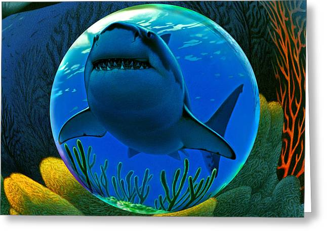 Shark Digital Art Greeting Cards - Shark World  Greeting Card by Robin Moline