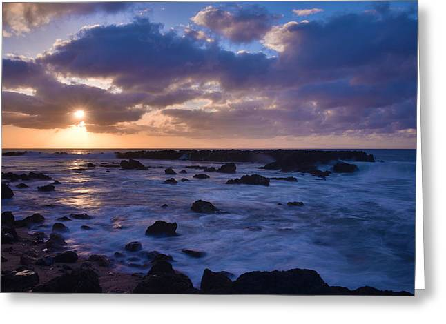 Tidal Photographs Greeting Cards - Sharks Cove Sunset 1 - Oahu Hawaii Greeting Card by Brian Harig