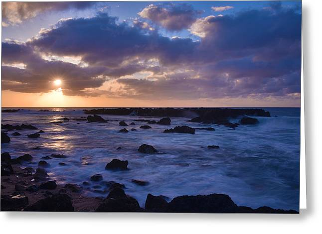 Blue Green Wave Greeting Cards - Sharks Cove Sunset 1 - Oahu Hawaii Greeting Card by Brian Harig