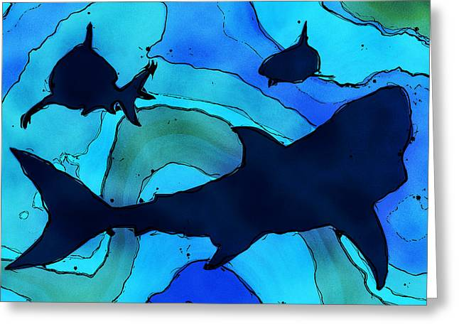Fish Digital Art Greeting Cards - Sharks Greeting Card by David G Paul