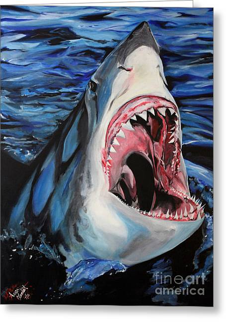 Sharks Get Smart Greeting Card by Lambert Aaron