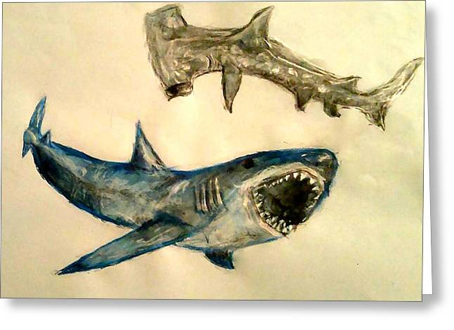 White Shark Paintings Greeting Cards - Sharks Greeting Card by Jennie Hallbrown