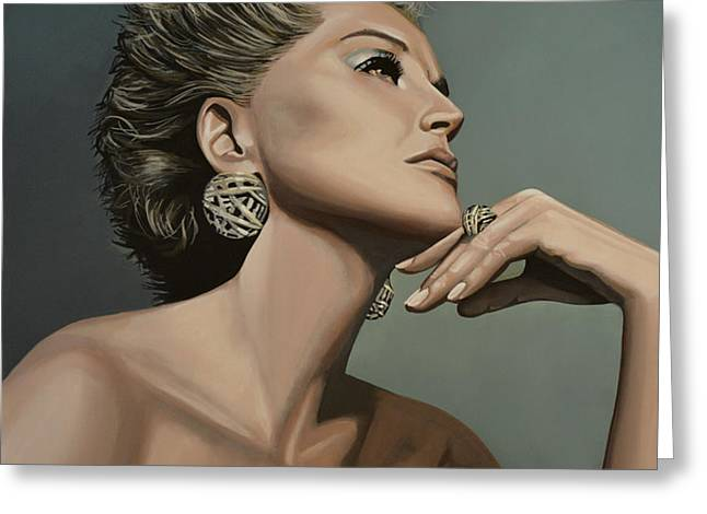 Sharon Stone Greeting Card by Paul  Meijering