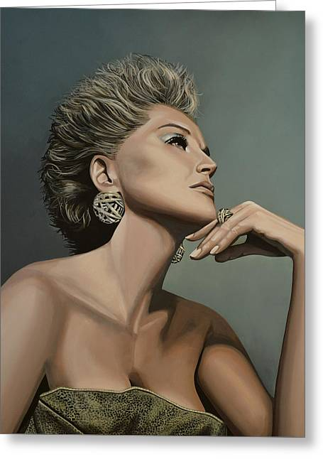 Andy Greeting Cards - Sharon Stone Greeting Card by Paul  Meijering