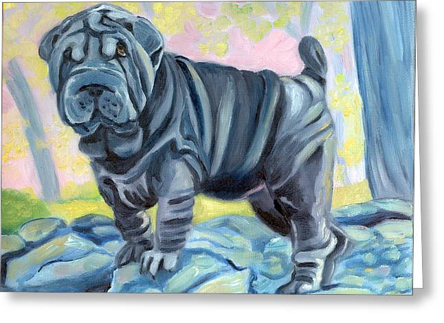 K9 Greeting Cards - Sharpei ... A Blue Day Greeting Card by Lyn Cook