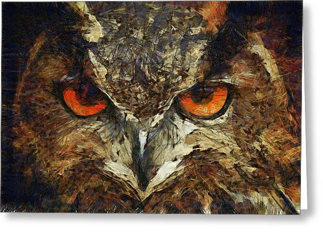 Wild Life Drawings Greeting Cards - Sharpie Owl Greeting Card by Ayse Deniz
