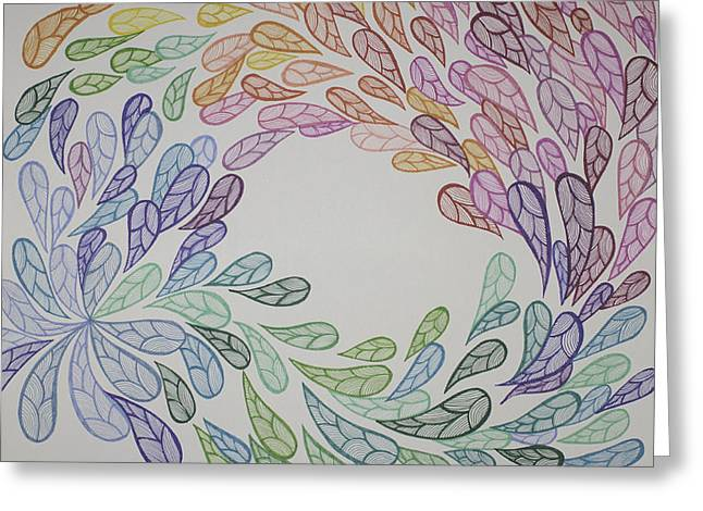 Spectrum Drawings Greeting Cards - Sharpili Feathers Greeting Card by Christie Mamanna