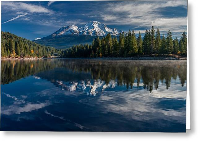 Shasta And Lake Siskiyou Greeting Card by Greg Nyquist