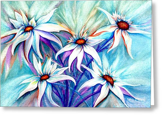 Dance Of Joy Greeting Cards - Shasta Daisy dance Greeting Card by Janine Riley