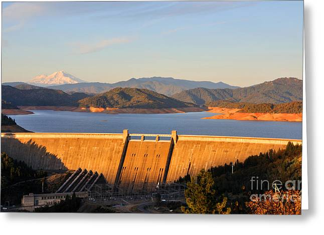 Mt. Shasta Greeting Cards - Shasta Lake Dam - California  Greeting Card by Gary Whitton