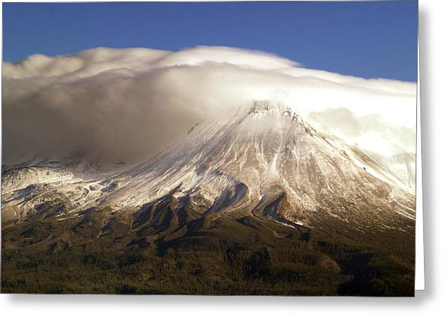 Mt. Shasta Greeting Cards - Shasta Storm Greeting Card by Bill Gallagher