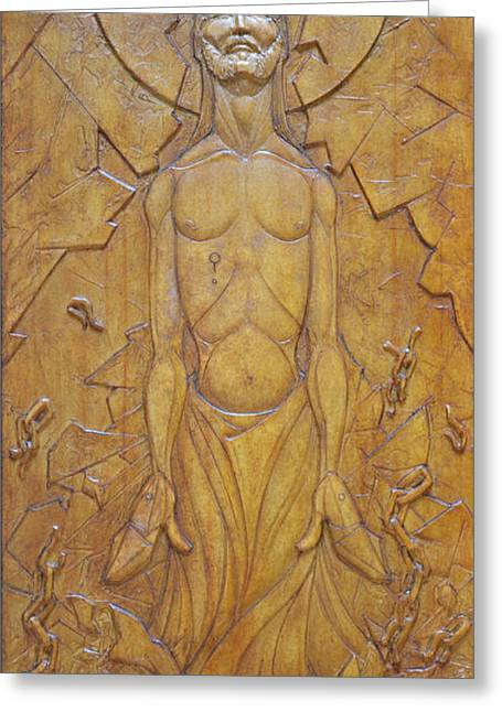 Sacred Art Reliefs Greeting Cards - Shatter - Ascendant Redemption Greeting Card by Jeremiah Welsh