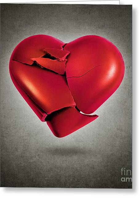 Shatters Greeting Cards - Shattered Heart Greeting Card by Carlos Caetano