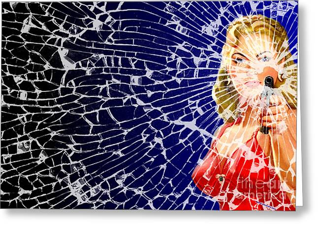 1950s Movies Greeting Cards - Shattered Wideshot Greeting Card by Sasha Keen