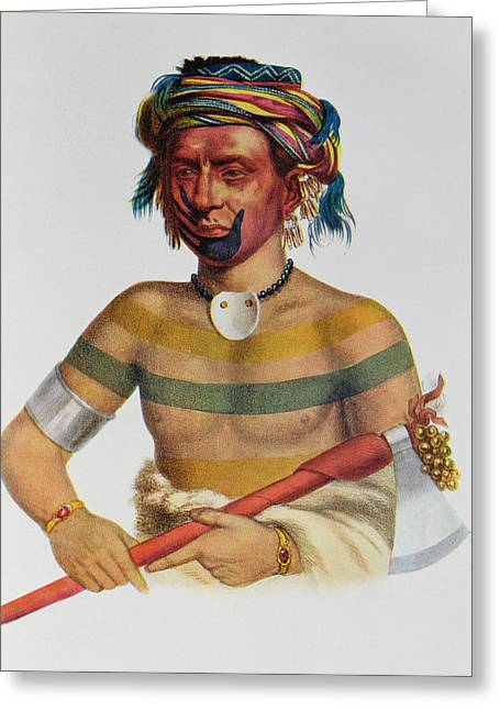 Earrings Photographs Greeting Cards - Shau-hau-napo-tinia, An Iowa Chief, 1837, Illustration From The Indian Tribes Of North America Greeting Card by Charles Bird King