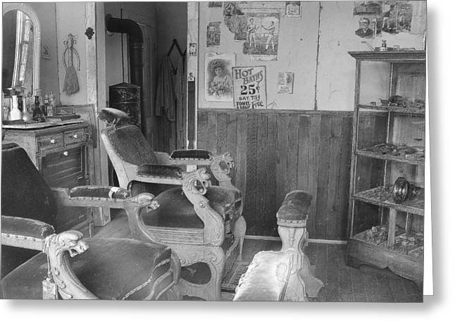 Foot Stool Greeting Cards - Shave and a Haircut Greeting Card by Mark Eisenbeil