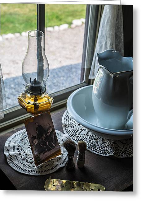 Old Pitcher Greeting Cards - Shaving Time at Mounte Station Greeting Card by Douglas Barnett