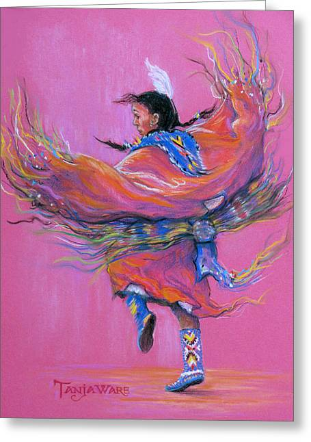 Figurative Pastels Greeting Cards - Shawl Dancer Greeting Card by Tanja Ware
