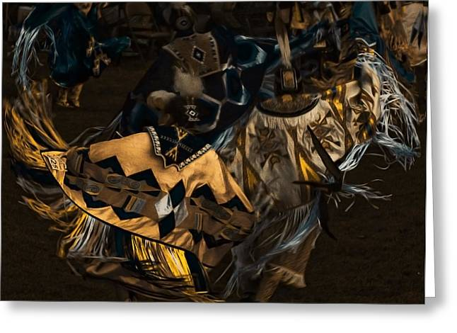 Powwow Greeting Cards - Shawl Dancers Greeting Card by Cynthia Dickinson